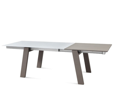Buy Taupe Matte Beechwood Frame Extension Table with Sand Glass Top | 212Concept