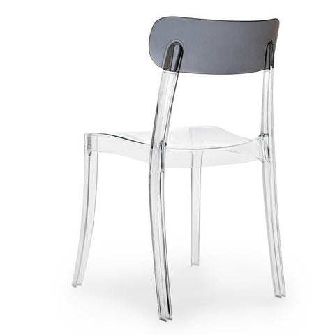 Contemporary outdoor Retro stacking chair in transparent clear frame and fume back by Domitalia