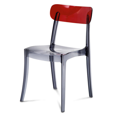 Contemporary outdoor Retro stacking chair in transparent smoke frame and red back by Domitalia