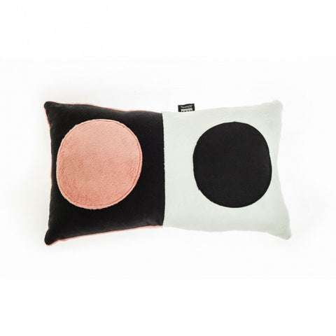 Pares-Nones Rectangle Pillow in White, Black and pink