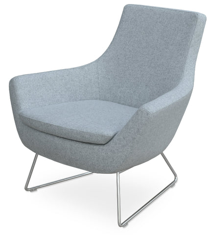 Modern contemporary Rebecca Lounge Chair camira silver wool