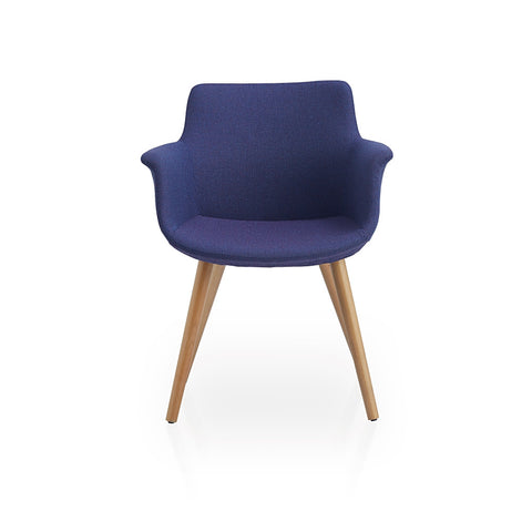 Buy Dowel Wood Legged Curvy Rego Blue Armchair | 212Concept
