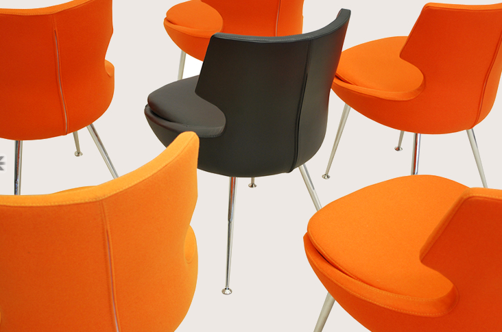 Grey and Orange Dining Chair