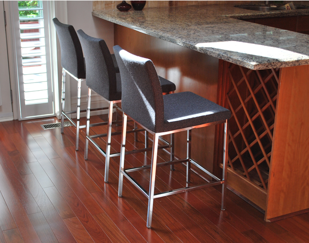 Aria chrome stools in dark grey wool side view