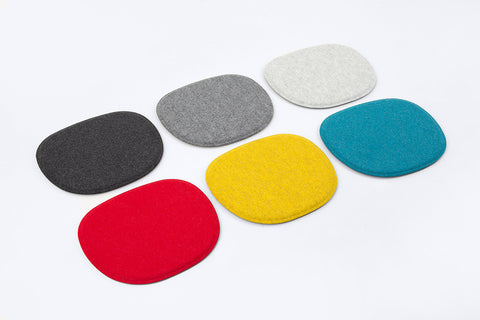 Modern Maharam Kvadrat Wool side chair seat pads for all Kubikoff chair collection top view
