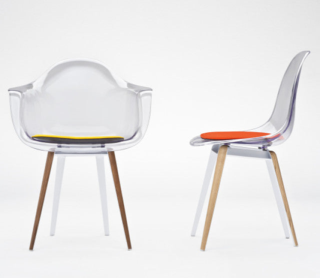 Slice modern armchair and chair with transparent shell