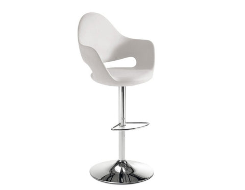 Leatherette upholstered Soft-SG Piston swivel stool in white by Domitalia