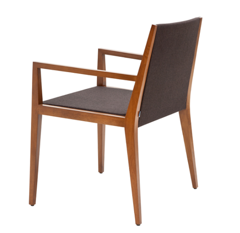 Spirit modern dining chair in brown wool back view