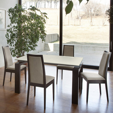 Contemporary Wooden frame dining chair in biege fabric and wenge frame by Domitalia