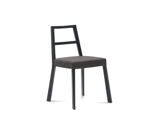 Ashwood frame linear wooden upholstered Torque chair by Domitalia in black frame