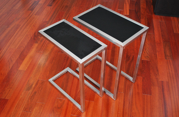 Alfa modern nesting tables glass top