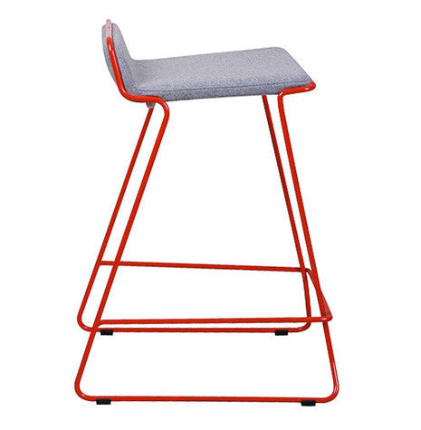 Bleecker modern barstool with red wire base