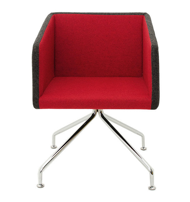 Buy Box Swivel Armchair Red Fabric | 212Concept