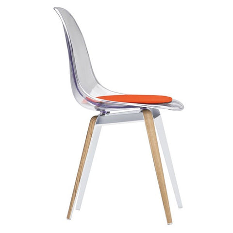 Modern slice side chair in transparent shell with natural legs side view
