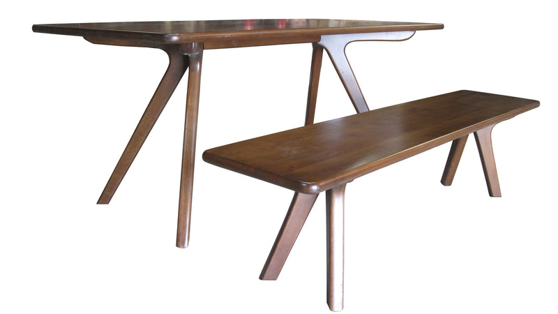Charles modern dining table and bench in walnut