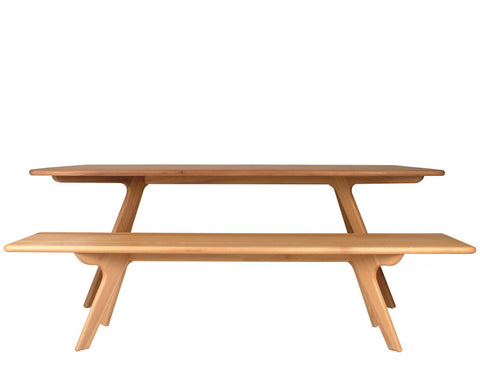 Charles modern dining table and bench in natural beech wood