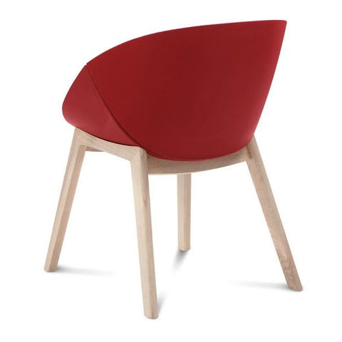 Modern Shell-Shaped Coquillea-L Armchair in red leatherette with oak finish legs
