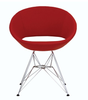 Crescent Tower modern dining chair in red leatherette