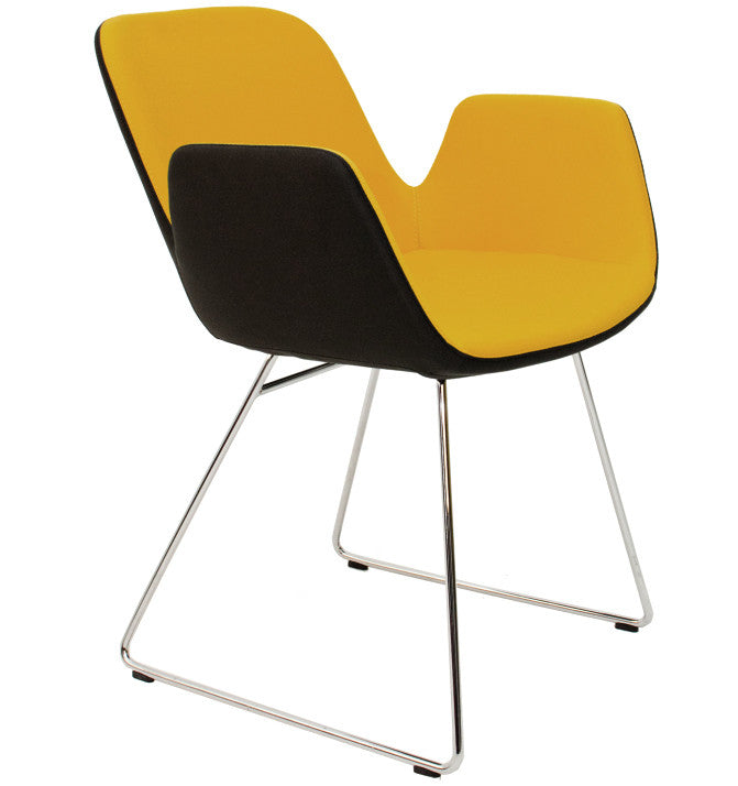 Buy Enveloping Design Daisy Sled Base Armchair in Yellow | 212Concept