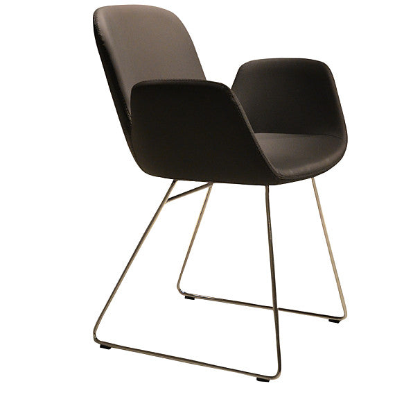 Buy Enveloping Design Daisy Sled Base Armchair in Black Leather | 212Concept
