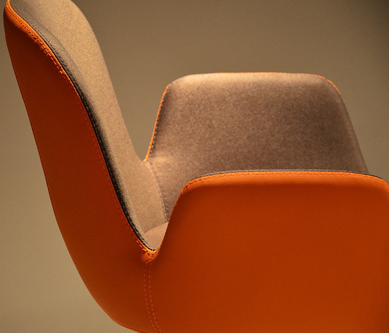 Buy Enveloping Design Daisy Sled Base Armchair in Orange | 212Concept