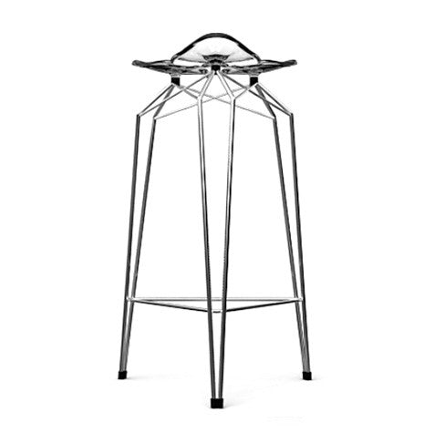 Diamond modern barstool with clear transparent seat