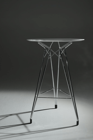 Diamond modern bar table with clear glass top and chrome finish legs