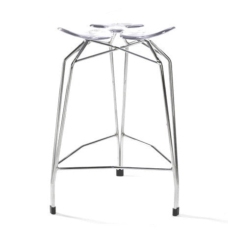 Diamond modern counter stool with chrome- plated base