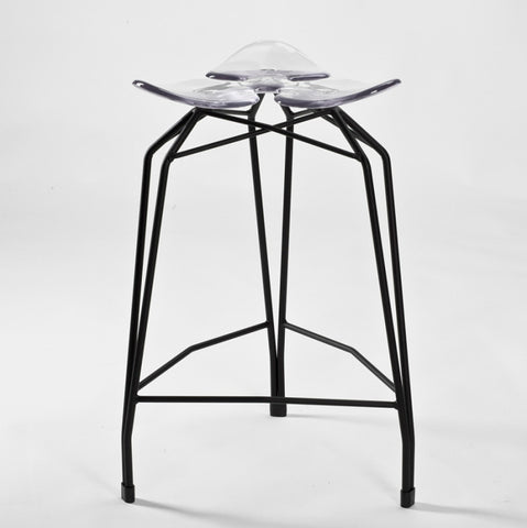 Diamond modern counter stool with black legs