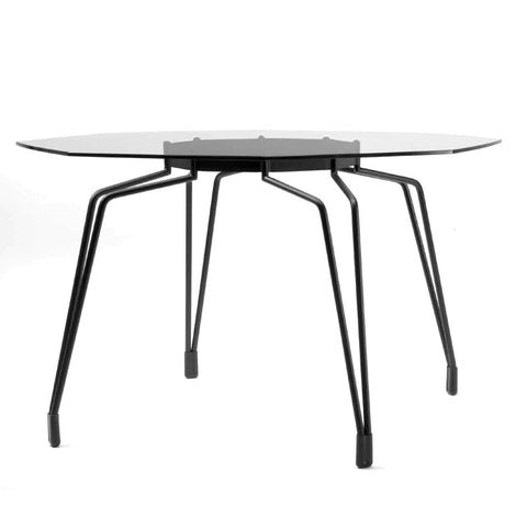 Diamond modern dining table with clear glass top