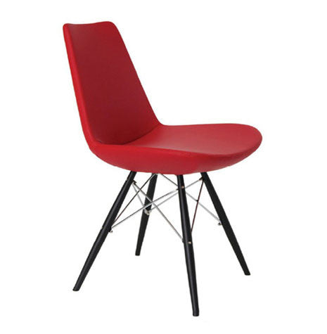 Eiffel MW modern dining chair in red leatherette