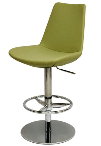 Eiffel Piston modern barstool in green leatherette