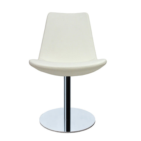 Eiffel modern swivel chair in white leatherette