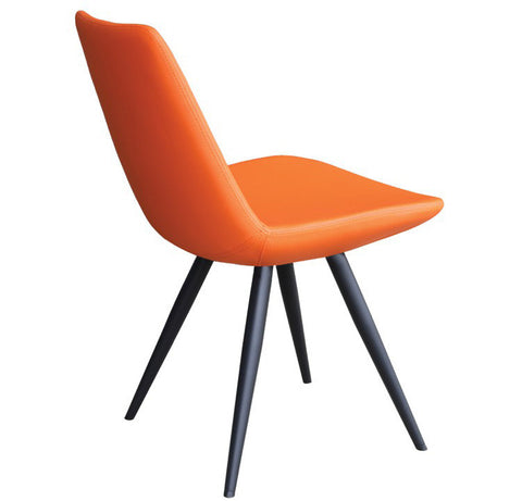 Eiffel Star modern dining chair in orange leatherette