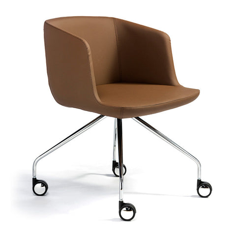Modern small scale brown leather office chair | 212Concept