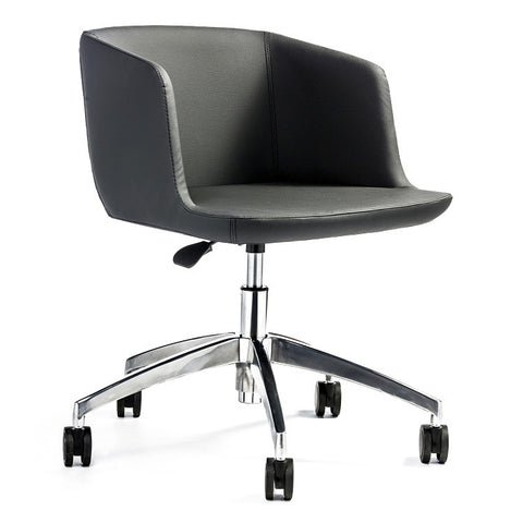 Modern small scale black leather office chair | 212Concept