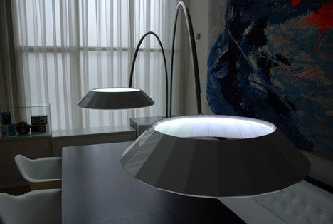 Modern Round Halo Floor Light Jet Black Color | 212Concept