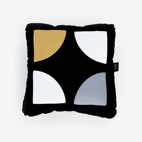 Gold, blue and black modern pillow