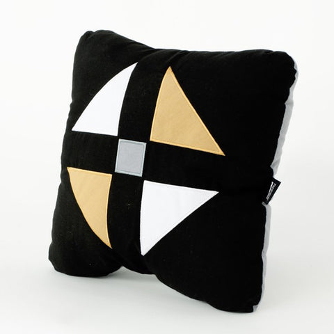 Gold and black square pillow for sofa