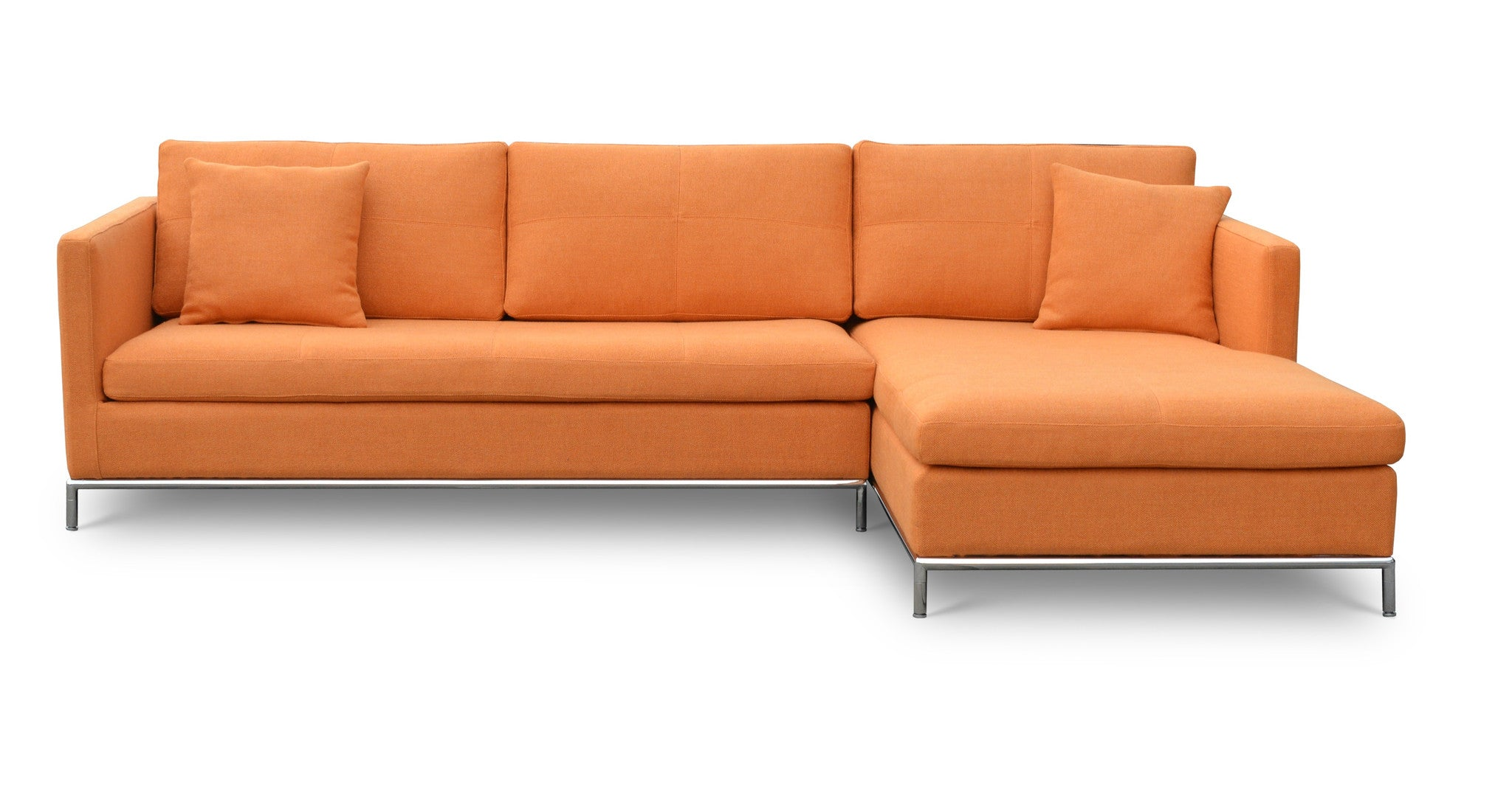 orange leather sectional sofas second used thomasville hand off red