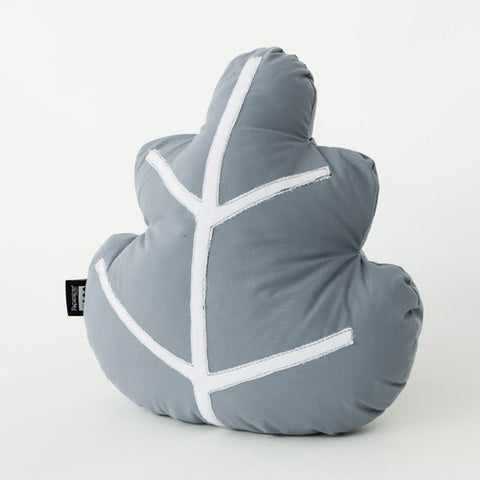 Modern Organic Leaf Design Grey Pillow