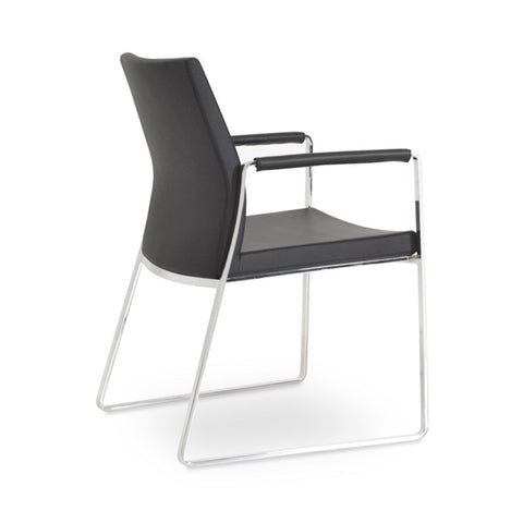 Buy Curved Minimal Design Steel Frame Sled Armchair | 212Concept