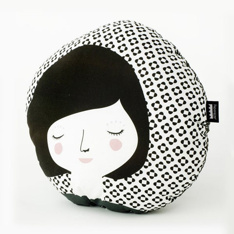 Modern Round Folk Woman Design Pillow in Black Print | 212Concept