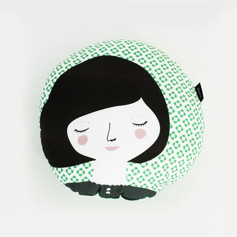 Modern Round Folk Woman Design Pillow in Green Print | 212Concept