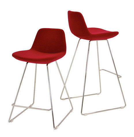 Red wool Pera Wire modern barstool and counter stool