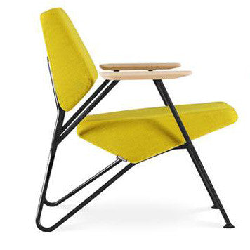 Retro Polygon Armchair by Numen|For Use | Yellow Fabric | Black Metal