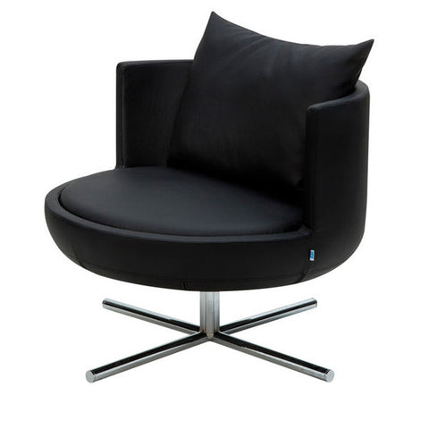Round Lounge Chair Black Leather side view
