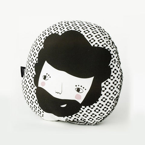 Modern Round Folk Design Pillow in Black Print | 212Concept