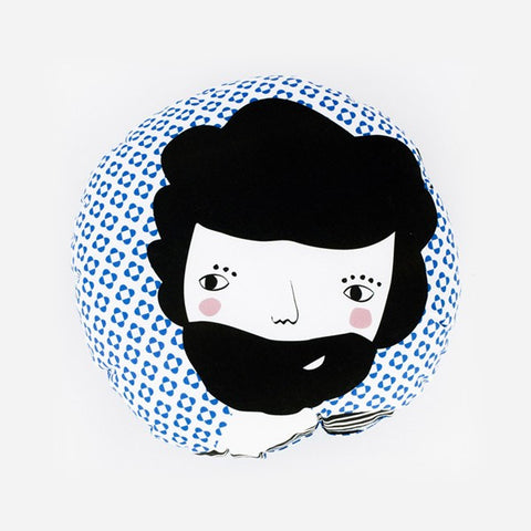 Modern Round Folk Design Pillow in Blue Print | 212Concept