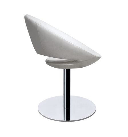 Crescent modern swivel chair in bone leatherette
